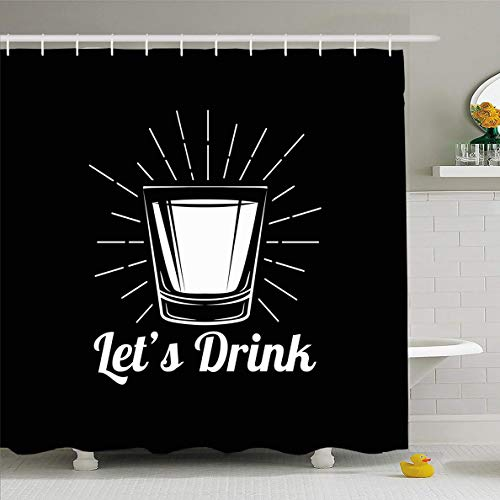 Ahawoso Shower Curtain 60x72 Inches Gray Shot Whiskey Drinking Glass Alcohol Food Bourbon Drink Vintage Drunk Label Rum Vodka Highball Waterproof Polyester Fabric Bathroom Curtains Set with Hooks ()