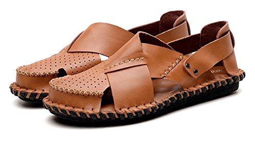 vera Sandali acqua estate da sandali pescatore gomma suola esterni uomo in NANXIE casual scarpe scarpe suola Pakamo pelle da in uomini khaki pantofole spiaggia qXxBwcA05