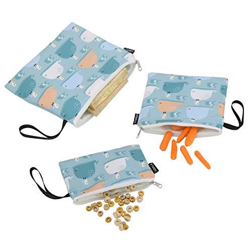 Hibala Fashionable Reusable Snack & Sandwich Bags with Handle