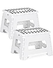 Utopia Home Foldable Step Stool for Kids - 11 Inches Wide and 8 Inches Tall - Holds Up to 300 lbs - Lightweight Plastic Design (White, Pack of 2)