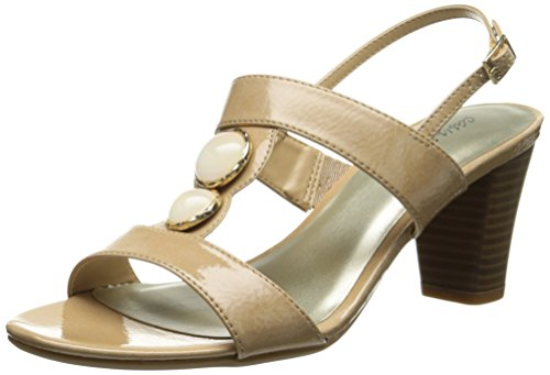 Easy Street Women's Catalina Dress Sandal, Nude Crinkle Patent, 9.5 M - Nude Catalina