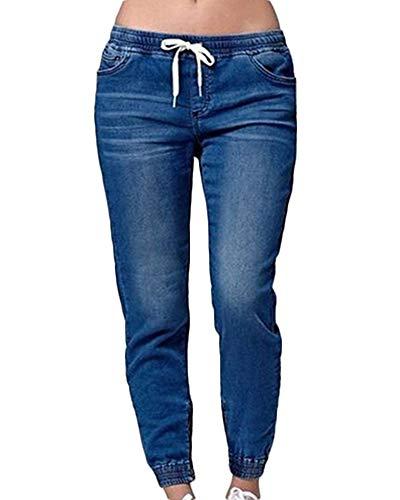 Cintura Azul Mujeres Pantalones Cordón Jeans Oscuro Elástica Joggers Slim Vaqueros Fit Mezclilla 5qAnvzwFq