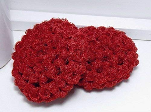 Red Reusable Crochet Dish Scrubbies Set Of 2 Zero Amazoncom