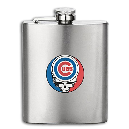 Grateful Dead Steal Your Face Chicago Cubs Hip Flask Stainless Steel Flask & Funnel