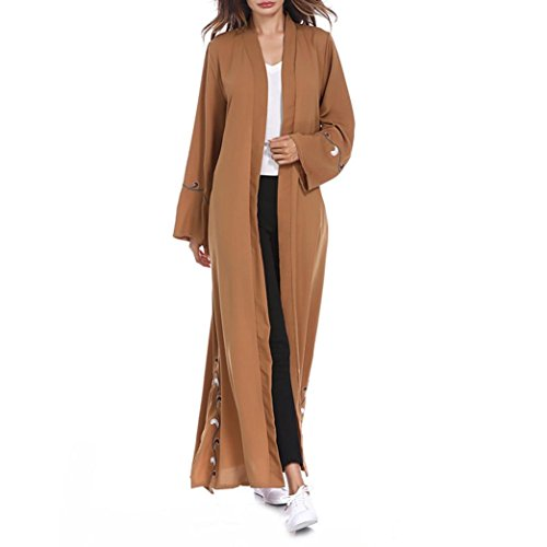 Muslim Women Islamic Embroidered Cardigan Long Coat Middle East Long Robe by SanCanSn(Coffee,M) by SanCanSn Women Top
