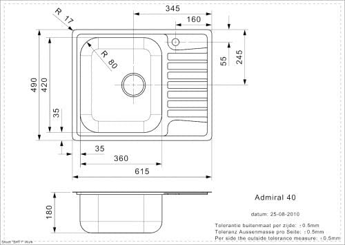 Medizinische Edelstahl Sp/üle mit Abtropffl/äche poliert ADMIRAL 40 CC L
