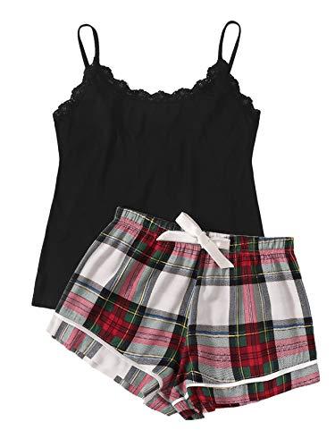 - SweatyRocks Women's Sleepwear Set Plaid Print Cami Top and Elastic Waist Short Pajama Set Multicolor Small