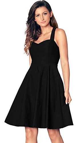ut Out Sweetheart Neck Vintage Bridesmaid Swing Plus Size Dress Black 2XL ()