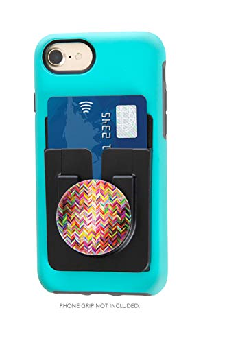 Patent Shopper - Socket Lock-It, Patent Pending Adhesive Card Holder + Phone Grip Holder in One, Fits Most Cell Phones Cases, Works with Most Standard Size Phone Grips, Easily Interchange Phone Grips (Black)