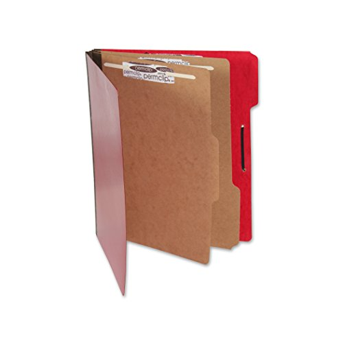 2 Dividers 6 Partitions Letter (Red Pressboard Classification Folder with 6 Permclip Fasteners and 2 Natural Kraft Dividers- Letter Size, Tyvek Gussets, Top Tab (10/Box))