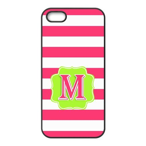 (iFUOFF Custom Hot Pink Stripes Flourish Glitter Initial Pattern - Monogram Personalized Defender Case for iPhone 7 (4.7inch) (Black & White))