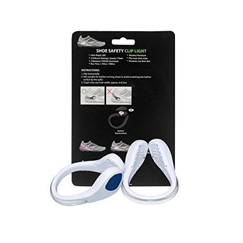 TEQIN White Shell Blue LED Flash Shoe Safety Clip Lights for Runners & Night Running Gear - Reflective Running Gear for Running, Jogging, Walking, Spinning or Biking + Velvet Bag - (Set of 2) by TEQIN (Image #9)