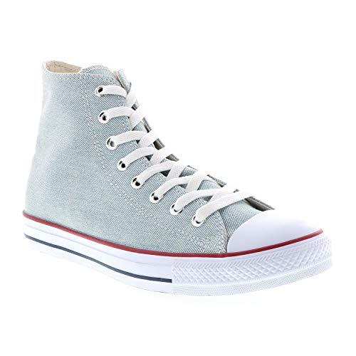 Converse Chuck Taylor All Star Denim High Top Sneaker, Light Blue/White/Brown, 9