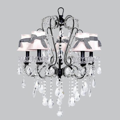 Jubilee Collection 76007-2730 5 Light Carousel Black Chandelier with Zebra Bell Shade