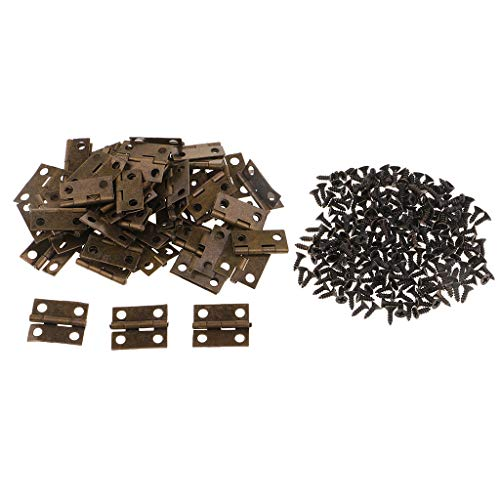 SM SunniMix 50 Pieces Vintage Iron Mini Hinges Wooden Jewelry Box Cabinet Decorative Hinge with Screws 18x16mm ()