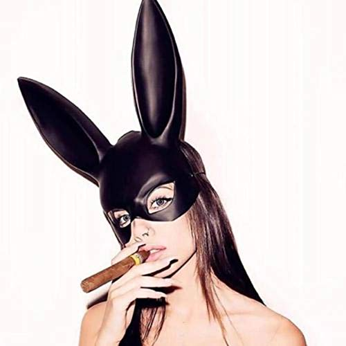 1Pc Halloween Laides Bunny Mask Party Bar Nightclub Costume Rabbit Ears Mask UK Black]()