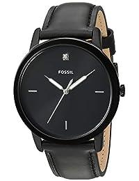 Fossil FS5478 Reloj para Hombre, Correa Piel Negro, Caratula Negro, Análogo