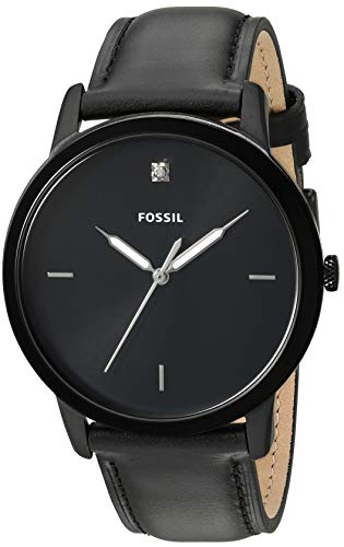 Fossil Men's Minimalist Carbon Series Quartz Stainless Steel Diamond Accent Dress Watch, Black, 21.3 (Model: FS5478) (Fossil Watches Black Leather)