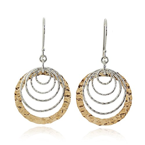 Two Tone Graduated Hoops Dangle Earrings 925 Sterling Silver & 14k Gold Filled Cascading Circles Graduated Circle Earrings