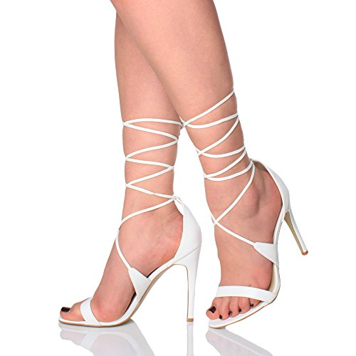 Ajvani Lace Matte up Women Sandals Heel High There Tie Barely White Size axAaqRw1