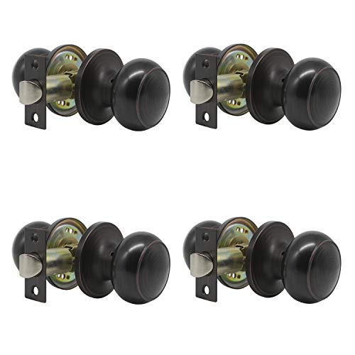 Probrico Interior Door Knobs for Hall/Closet, Passage Door Knobs, Oil Rubbed Bronze Keyless Non-Locking Handles(4 Pack)
