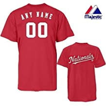 Washington Nationals Personalized Custom (Add Any Name & Number) 100% Cotton T-Shirt Replica Major League Baseball Jersey