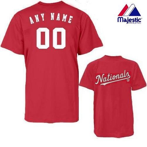 Washington Nationals Personalized Custom (Add Any Name & Number) ADULT XL 100% Cotton T-Shirt Replica Major League Baseball Jersey