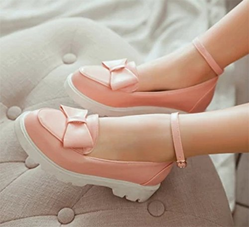 Easemax Womens Sweet Low Top Ankle Buckle Strap Round Toe Flats Shoes With Bows Pink ROpl08