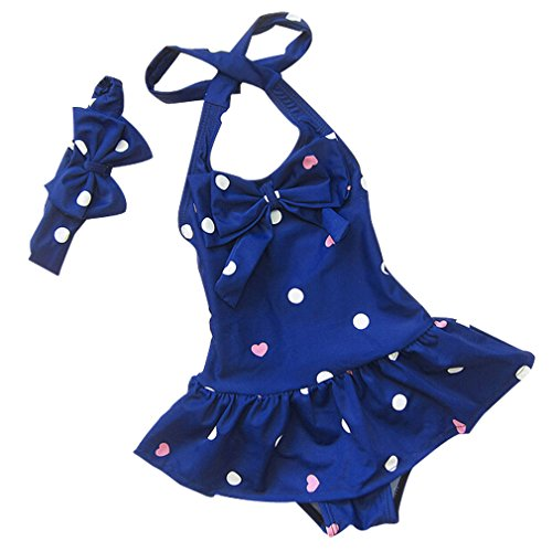 Mingao Little Girls Bow 2 Piece Beach Bikini Swimwear Swimsuit Blue 2-3 Years