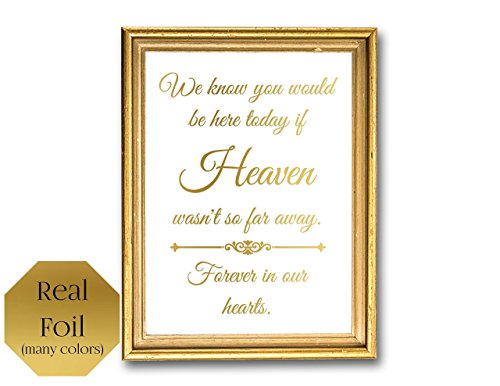 Heaven Wasn't So Far Away Forever In Our Hearts, Memorial Sign, Wedding Remembrance Unframed Signage
