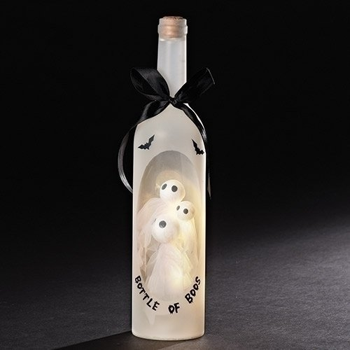 Bottle of Boos Ghosts Light Up LED 13 Inch Wine Bottle Halloween Tabletop Figurine by Roman