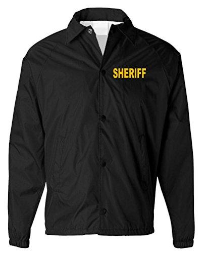 v2 Sheriff - Police Officer Windbreaker - Mens Coaches Jacket, S, Black