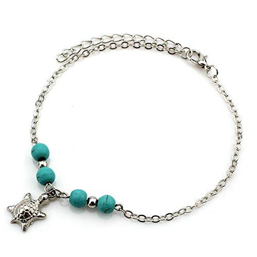 Zealmer Women Sea Turtle Anklet Sandal Barefoot Feet Jewelry Simple Turquoise Beads Silver Ankle Bracelet