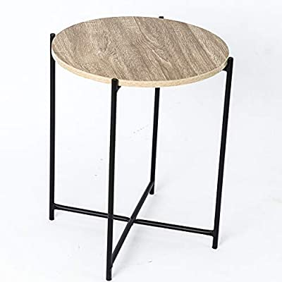 C-Hopetree Small Round Occasional Accent Side Table for Living Room - Metal Frame - DURABLE SURFACE - Wood look laminate finish is easy to look after. VERSATILE and LIGHTWEIGHT - The perfect space saving solution. STRONG AND STABLE - Black tubular steel frame and MDF board. - living-room-furniture, living-room, coffee-tables - 413aaPzt8fL. SS400  -