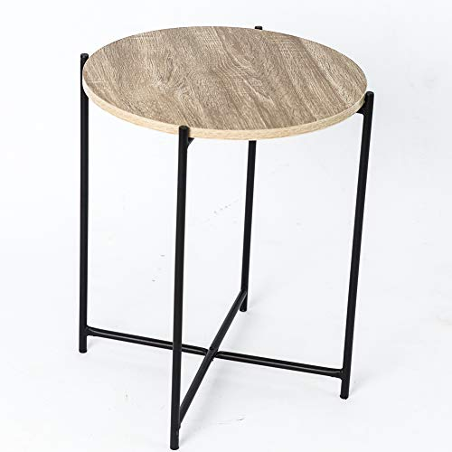 C-Hopetree Coffee Table Small Round Occasional Side End Table for Living Room Industrial Style Vintage Wood Look Metal Frame