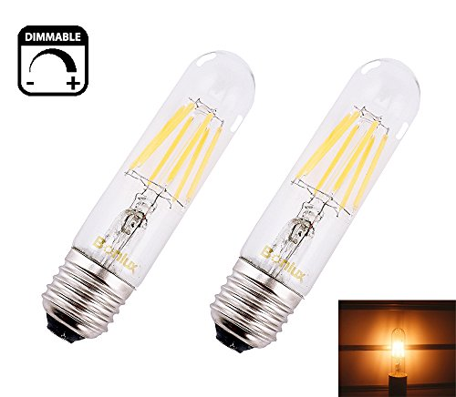 120v T10 E26 Medium Screw (Bonlux Dimmable LED T10 Tubular Filament Bulb with Medium E26 Base 120V 6W Warm White T10 Tubular Filament COB LED Light Bulb for Display Cabinet Showcase Desk Light (Pack of)