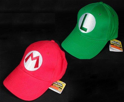 2PCS Super Mario Bros Luigi ADULT Hat Cap Costume cosplay Halloween hat baseball - Picture Of Luigi