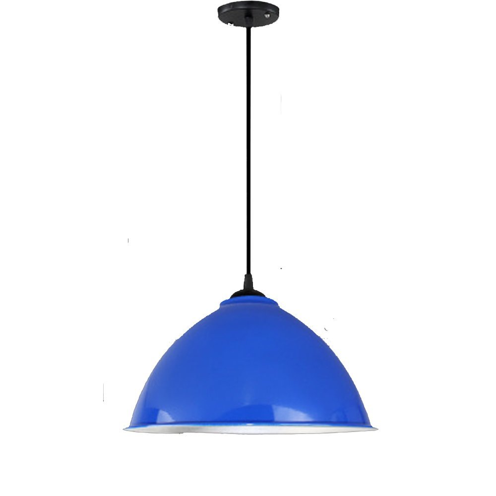 Simple chandelier, industrial style, creative personality, modern industrial and mining lamp cover bar, single head restaurant, hairdressing shop, office lamp (Color : Blue)