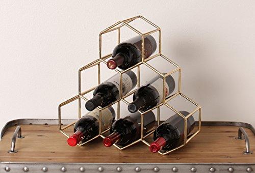 Kate and Laurel Merl Countertop Lightweight Metal Wine Rack Holds 6 Wine Bottles, Gold