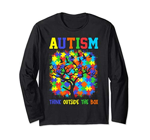 - Autism Awareness Ribbon Long Sleeve Shirt Think Outside Box