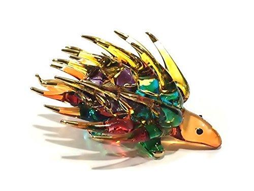 Handmade Porcupine Art Glass Blown Wild Animal Figurine - No.1 -