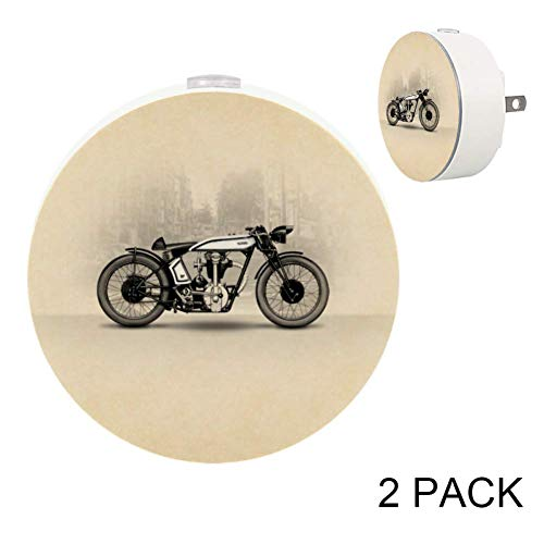 Anna Cowper Norton Cafe Racer Motorcycle LED Night Light Dusk to Dawn Auto Sensor Plug in Night Home Decor for Bedroom Hallway Kitchen Pack of 2