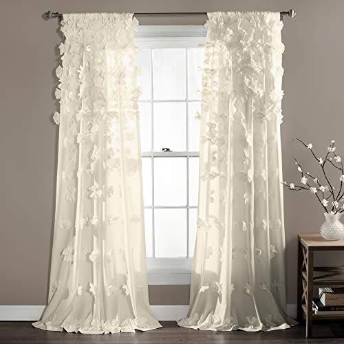 "Lush Decor Riley Curtain Sheer Ruffled Textured Bow Window Panel for Living, Dining Room, Bedroom (Single), 84"" x 54"", Ivory"