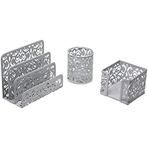 Three Piece Desk Organizer Set - Can Be Used On Desktop | Table | Counter in Kitchen or Work Space Floral Design - Silver