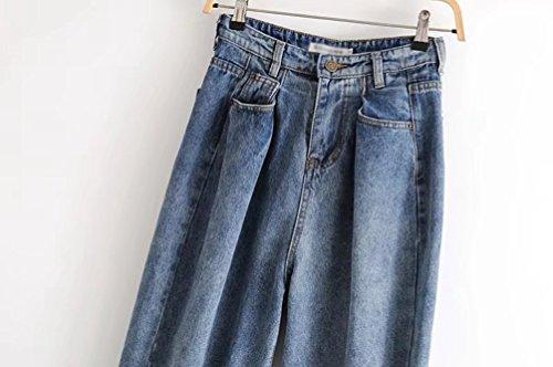 Style Femme Grande Clair Couleur Taille Boyfriend Taille Bleu Palazzo WanYang Jean Chic Plis Unie Haute Pantalon qREqf