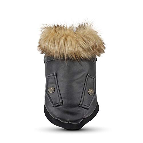 (RSHSJCZZY Pet Leather Coat Waterproof Dog Coats Winter Puppy Jackets Keep Warm)