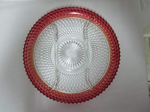 Indiana Glass Vtg Ruby Diamond Point Divided Tray Serving Plate Platter 12