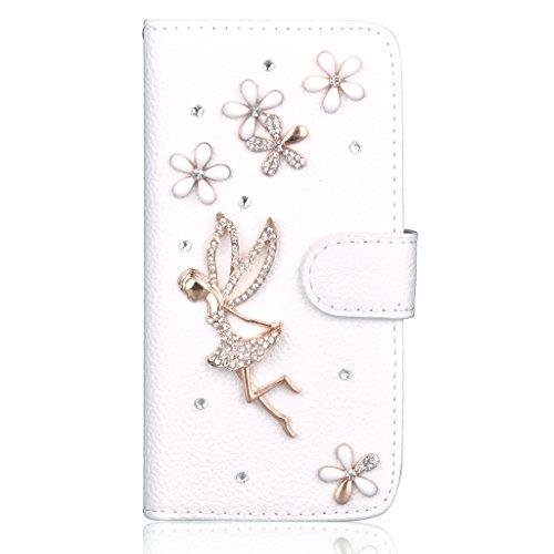 Infinite U Jewellery 3D Strass Cristal Faux Diamant Fleur Ange en Cuir Flip Folio Etui/Coque/Housse/Case de Protection avec Cartes de Crédit Fentes pour iphone 6/iphone 6s (4.7 Pouces)