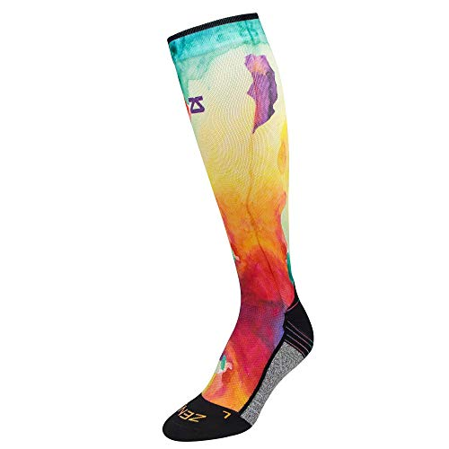 - Zensah Limited Edition Running Compression Socks - Anti-Blister, Comfortable, Moisture Wicking, Knee High Sport Socks (Watercolors-Yellow/Red, Small (Men's 4-6.5, Women's 5-8))