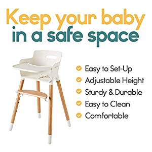 Wooden High Chair for Babies and Toddlers - with Harness, Removable Tray, and Adjustable Legs
